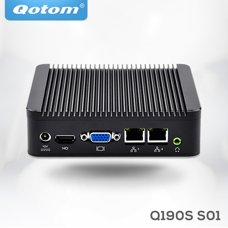 Qotom Mini Computer Qotom-Q190S Dual Gigabit Lan Celeron J1900  Quad Core Fanless 4*usb COM Blu-ray 1080P IPC
