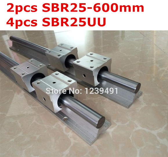 2pcs SBR25  -  600mm linear guide + 4pcs SBR25UU block 2pcs sbr25 l1500mm linear guides 4pcs sbr25uu linear blocks for cnc