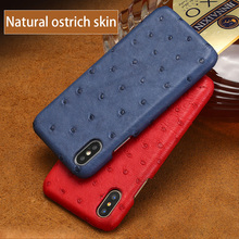 Natural Ostrich skin Phone case For iPhone X Luxury Genuine Leather Back cover 6 6S 7 8 Plus 5 5S SE cases