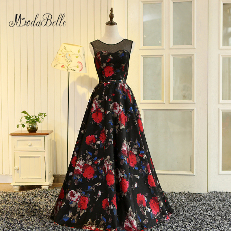 Modabelle Vestidos De Graduacion Largos 2017 댄스 파티 드레스 긴 꽃 프린트 블랙 댄스 파티 드레스 라인 꽃 저렴한 이브닝 가운