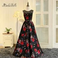 Modabelle vestidos de graduacion largos 2017 vestido largo floral impresión negro Vestidos de baile una línea de flores vestidos de noche baratos