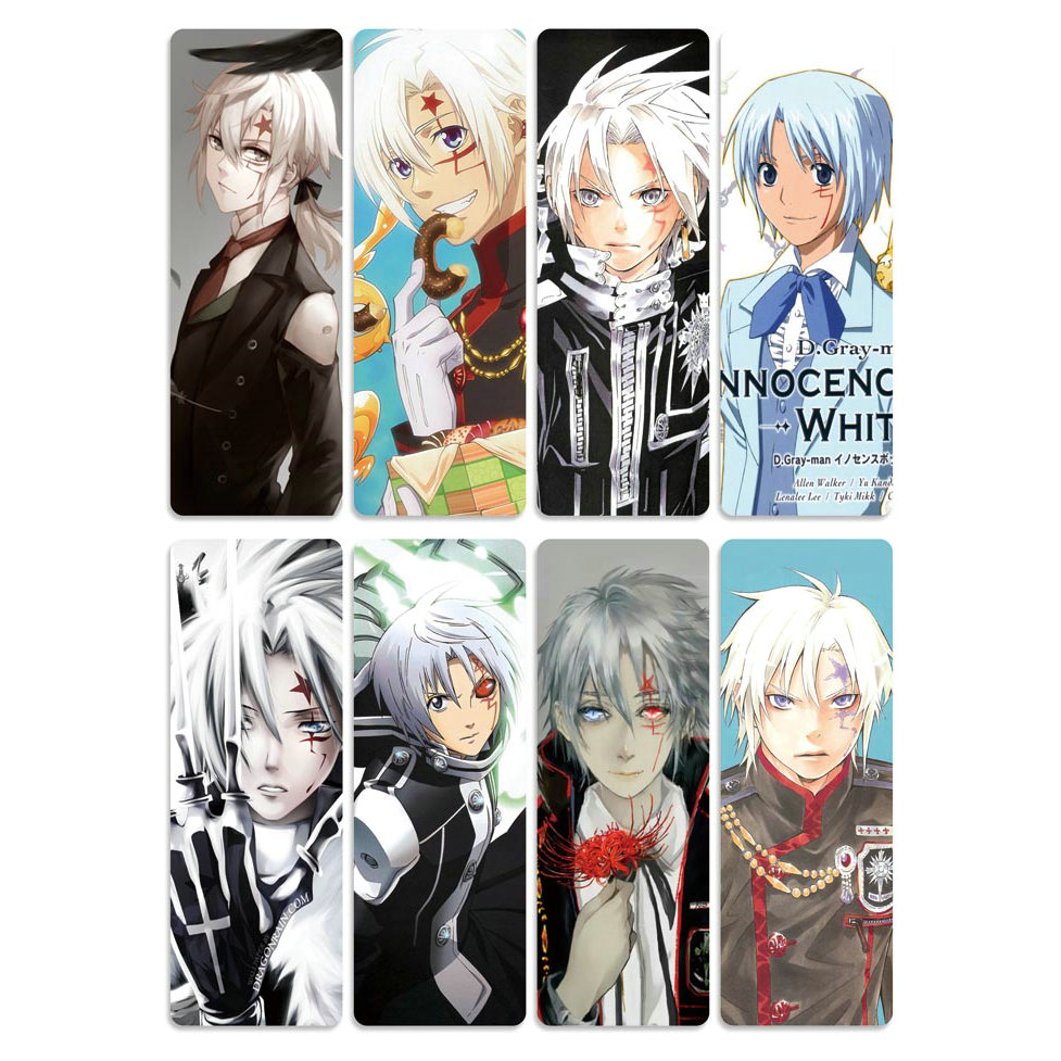 8pcs D.Gray-man Anime Bookmarks Waterproof Transparent PVC Plastic Bookmark Beautiful Book Marks Gift