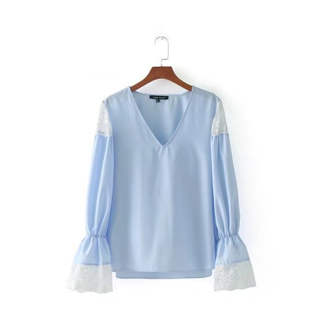 Early Autumn Europe And The United States Fan Fashion Lace Stitching Solid Color V Collar Shirt