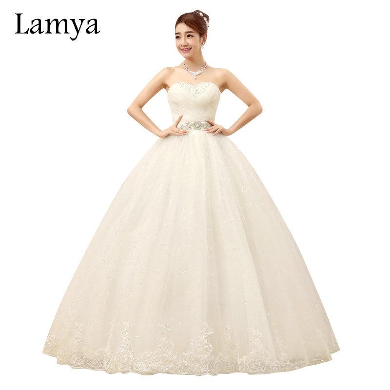 ᗑ】LAMYA Plus Size Princess Crystal Sashes Wedding Dresses 2018 ...