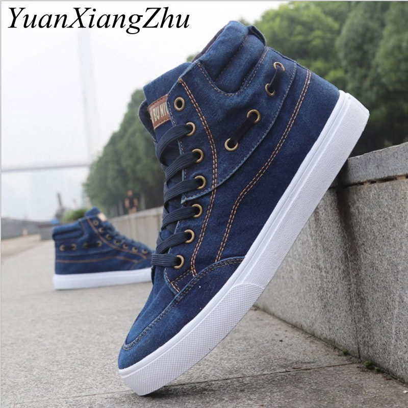 British Style Fashion Vintage Denim Jean Canvas Shoes Men High-top Casual Man Ankle Boots Flat Shoes Usual School Boy Footwear hot sale 2016 top quality brand shoes for men fashion casual shoes teenagers flat walking shoes high top canvas shoes zatapos