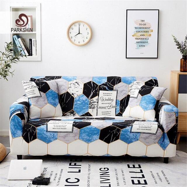Parkshin 1/2/3/4 Seater Slipcover Stretch cztery pory roku pokrowce na sofy pokrowiec na meble poliester Loveseat narzuta na sofę, Sofa, ręcznik,