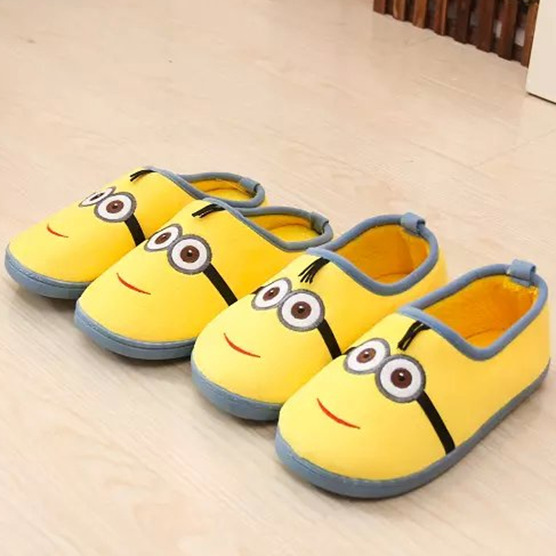 Cartoon Cute House Slippers Women Mujer Shoes Men Indoor Outdoor Despicable Me Minions Winter Plush Adults Cotton Pantuflas Hot 3d minions slippers woman winter warm slippers despicable minion stewart figure shoes plush toy home slipper one size doll