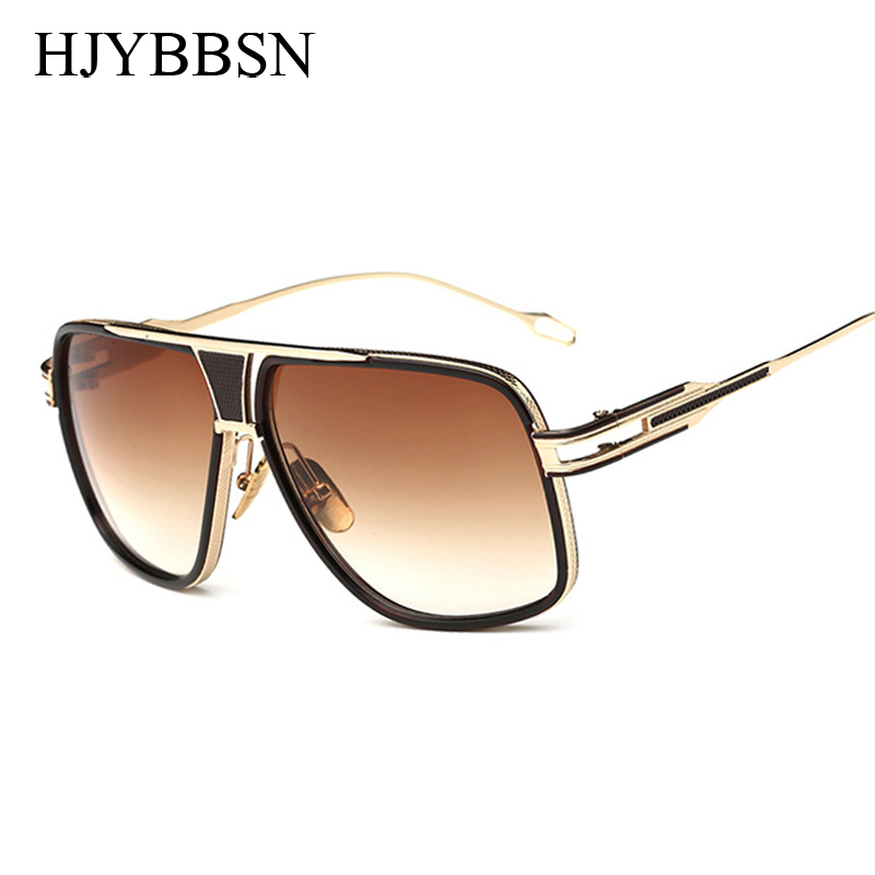 VISION Square Pilot Sunglasses Men Driving 2016 Male Luxury Brand Sun Glasses For Men Metal Designer Cool Shades MIRROR retro