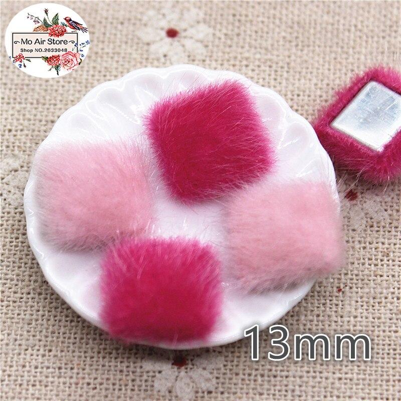 50 шт. розовый Flatback волосатые Ткань обтянутый квадратный Пуговицы домашний сад ремесел кабошон Скрапбукинг DIY 13 мм
