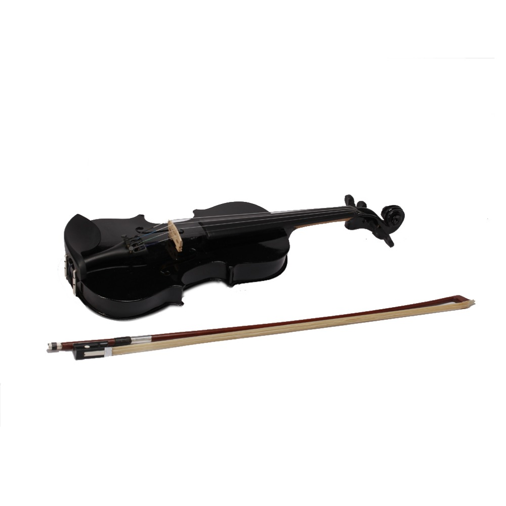 2016 High quality Black Violin Violin 1/4 3/4 4/4 1/2 1/8 Sizes Available Violin in Full Set with Bow,Rosin and Case free shipping 4 4 size 430c pernambuco cello bow high quality ebony frog with shield pattern white hair violin parts accessories