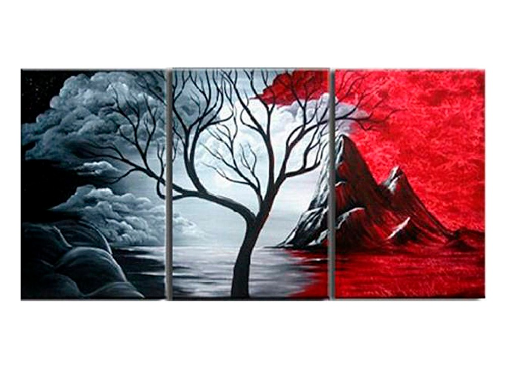 3 Pieces/set Modern Abstract Painting The Cloud Tree HD