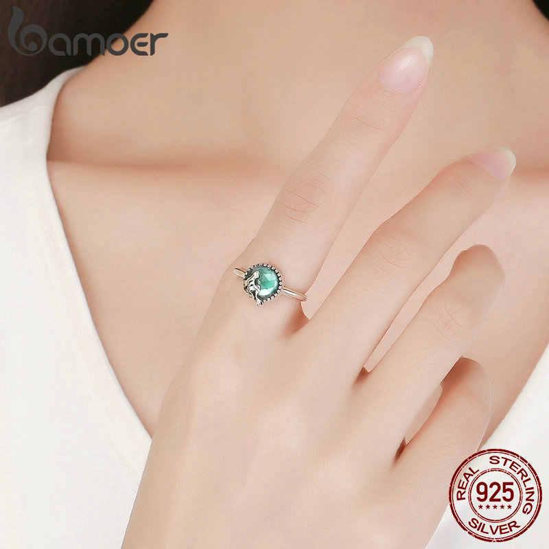 BAMOER ใหม่อินเทรนด์ 100% 925 เงินสเตอร์ลิงโรแมนติก Story ตำนานสีเขียว CZ แหวนเงินผู้หญิงเครื่องประดับของขวัญ SCR361
