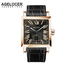 Agelcoer Caso de Negocios de Lujo de Oro Automático reloj Mecánico Números Romanos Visualizar Negro Hombres 100% de Cuero Resistente Al Agua 50 m