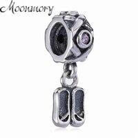 Moonmory chaussure forme 925 Sterling Argent Pendentif charme Balancent Avec Rose Zircon Fit Pandora Bracelet DIY Accessoire Bijoux Perle