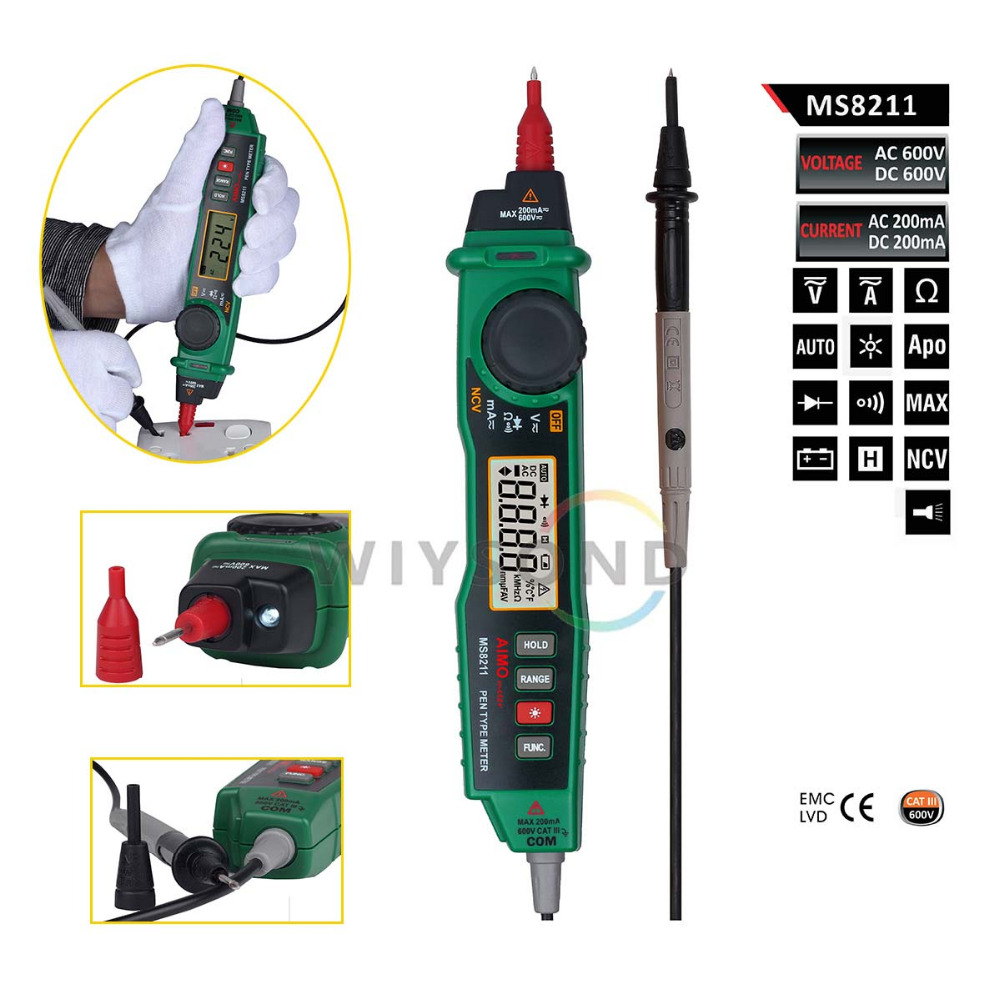 M071 AIMOMETER MS8211 Pen type Digital Multimeter NCV Detector Non contact DC / AC Voltage Current Meter Data Hold Multimeter free shipping mastech ms8211 portable pen type multimeter meter auto range digital multimeter non contact ac dc voltage detector