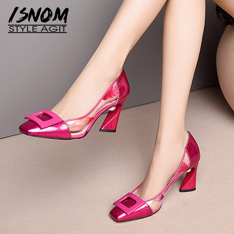 ISNOM Patent Leather Pumps Women Square Toe Footwear Transparent Print Pvc Pearl Shoes Female High Heels