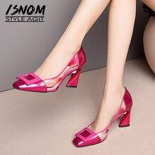 ISNOM Patent Leather Pumps Women Square Toe Footwear Transparent Print Pvc Pearl Shoes