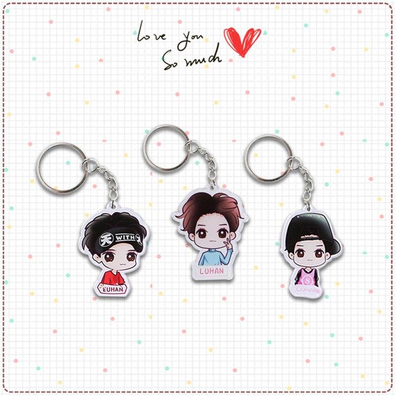 Youpop KPOP EXO Album EXO-M LUHAN Cartoon Acrylic Key Chain Plastic 2016 K-POP New Fashion  Key Ring Pendant YSK323
