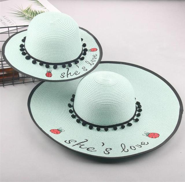 ecc63e51 2018 summer parent-child straw hat She's love cute ladybug Girls large wide  brim sun