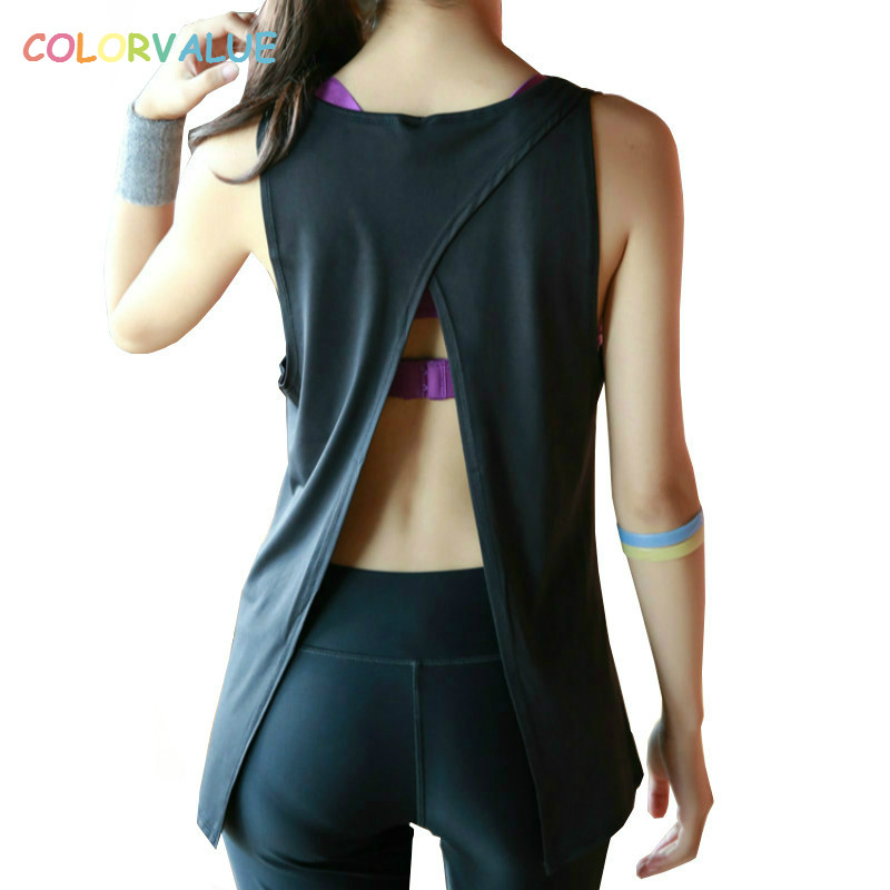 Colorvalue Quick Dry Backless Sport Fitness Top Women O-neck Solid Yoga Workout Tank Top Breathable Running Exercise Gym Vest women tank running breathable fitness comfortable vest workout sleeveless quick dry gym boxing sportswear shirt yoga top