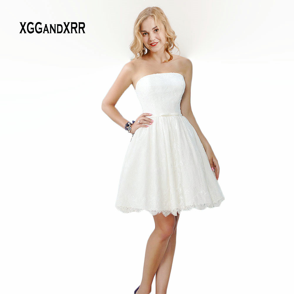 Elegant Short Wedding Dress 2019 Lace Bride Dress