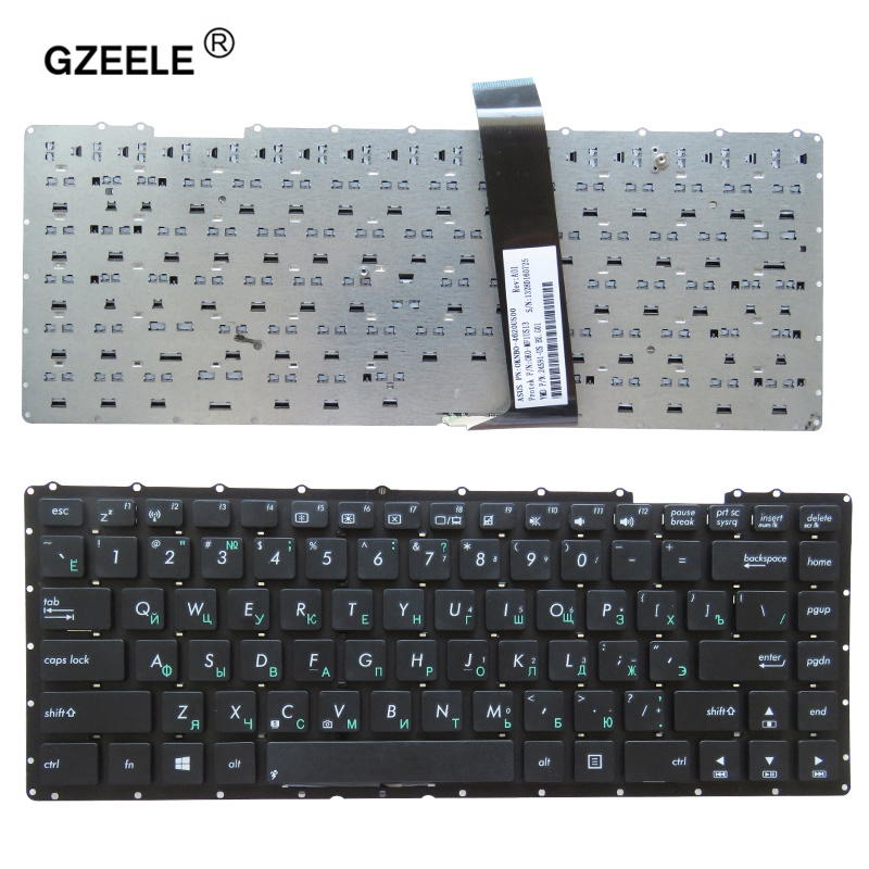 GZEELE Russian Keyboard FOR ASUS X401 X401A X401U F401A F401U Y481L Y481C F401 0KNB0-4109UK00 AEXJAE00010 MP-11L96GB-9202W RU