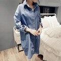 2 cores coreano moda Casual Jeans camisa Loose Women grandes estaleiros longo Denim camisa jaqueta CH-263
