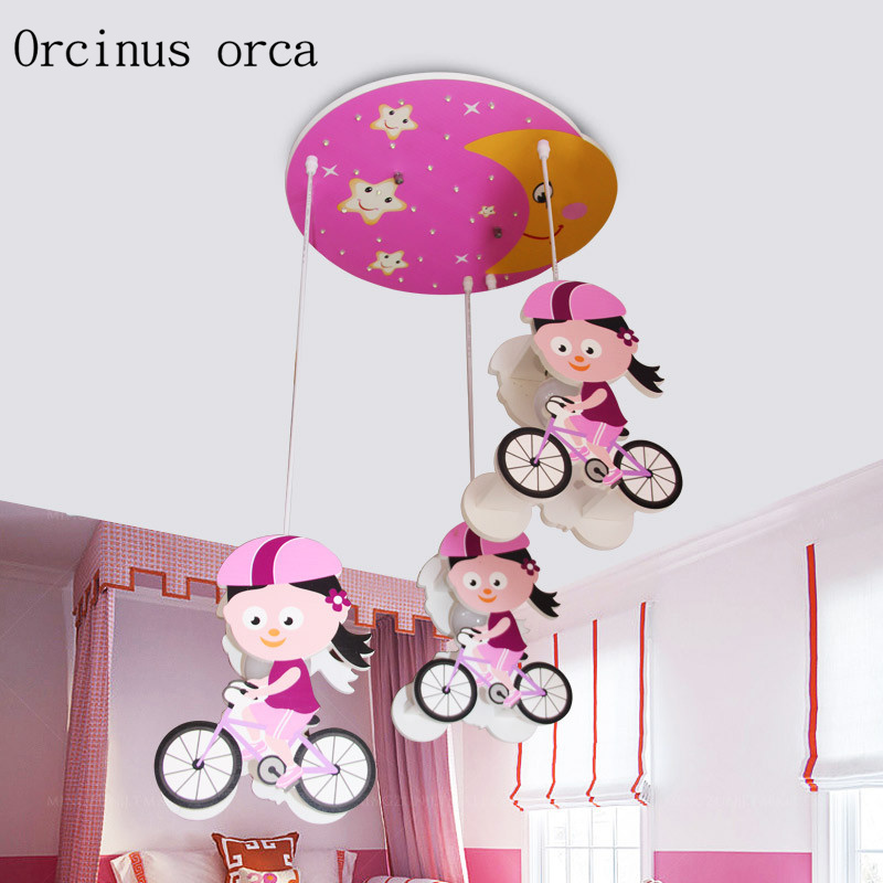 Personalized creative cartoon children's lamp led eye care girl baby bicycle children's room lamp free shipping