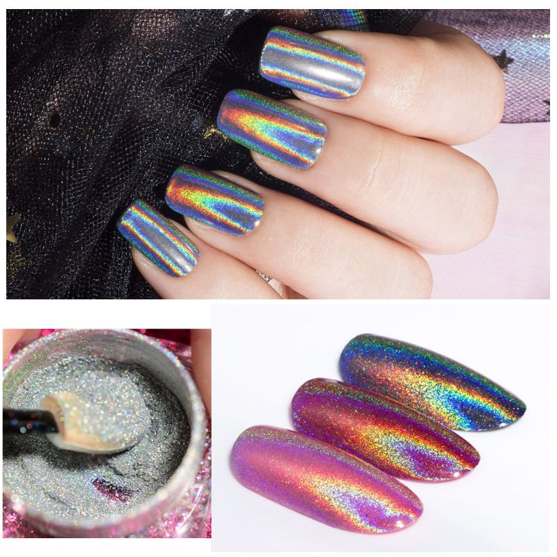 Extra Fine Holographic Chrome Nail Art Powder: 1 Box Holographic Glitter Powder Ultra Fine Cosmetic Grade