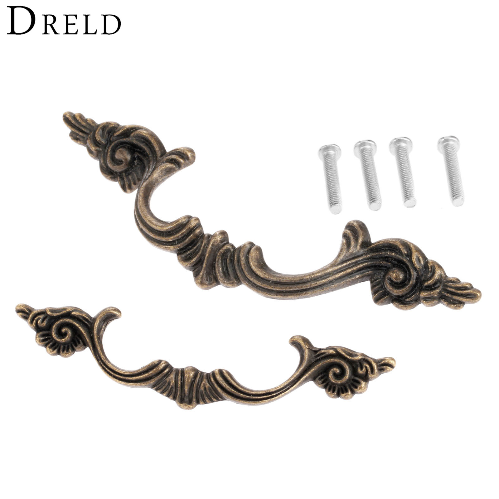DRELD 1Pc Antique Furniture Handle Cabinet Knobs and Handles Drawer Kitchen Door Pull Cupboard Handle Furniture Fittings 64/97MM antique furniture handles wardrobe door pull dresser drawer handle kitchen cupboard handle cabinet knobs and handles 128mm 160mm