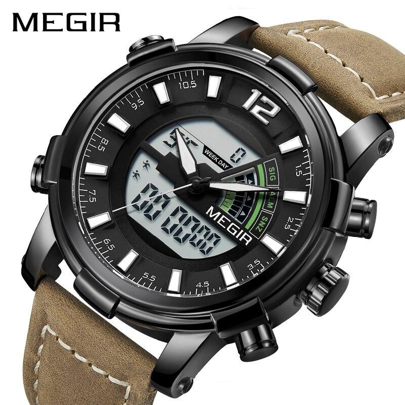 Luxury Brand Men Megir Watch Led Digital Leather Sports Watches Man Quartz Clock Men's Army Military Watch Relogio Masculino