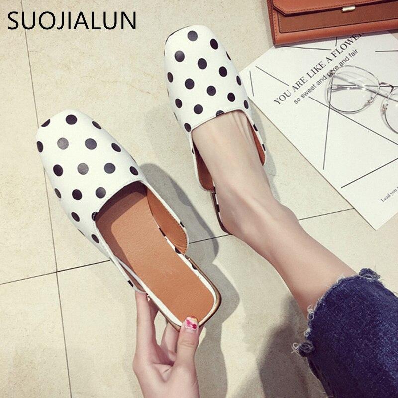 Suojialun Для женщин Шлёпанцы для женщин женская обувь на плоской подошве слипоны без каблука Шлёпанцы квадрат ног женские туфли без задника от...