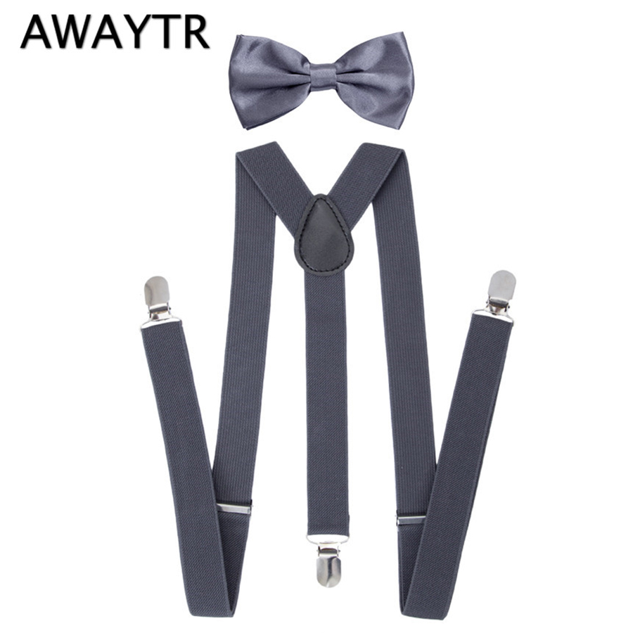 AWAYTR 90cm 2Pcs Suspenders With Ties Set Child Braces Large Boys Blue Elastic Suspensorio Party Wedding Three Clip-on Straps
