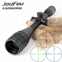 JouFou 6-24X50 Hunting Riflescope RGB Mil Dot Tactical Rifle Scope Wire Reticle Optical Sight with W/Picatinny or Dovetail Rings