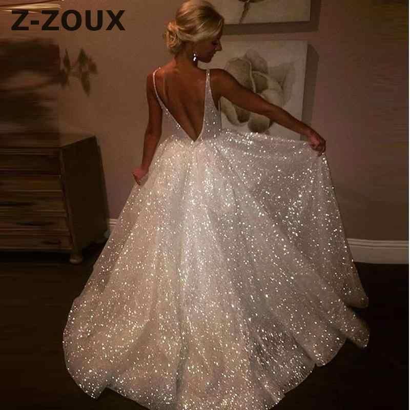 Z-ZOUX Women Dresses Sequined White Party Dresses Deep V Neck Backless Sexy  Dress Sleeveless ebc03fb2a2fd