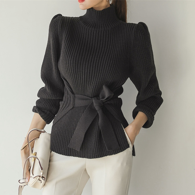 Elegant Women Turtleneck Knitted Sweater Fashion Lace-up Puff Sleeve Slim Autumn Pullover Sweater Casual Femme Winter Jumper