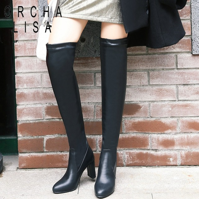 72878e2375a ORCHA LISA Big size 32-48 Over the knee boots for Women Slip-On boots Female  Round Toe Square long boots botines mujer C607