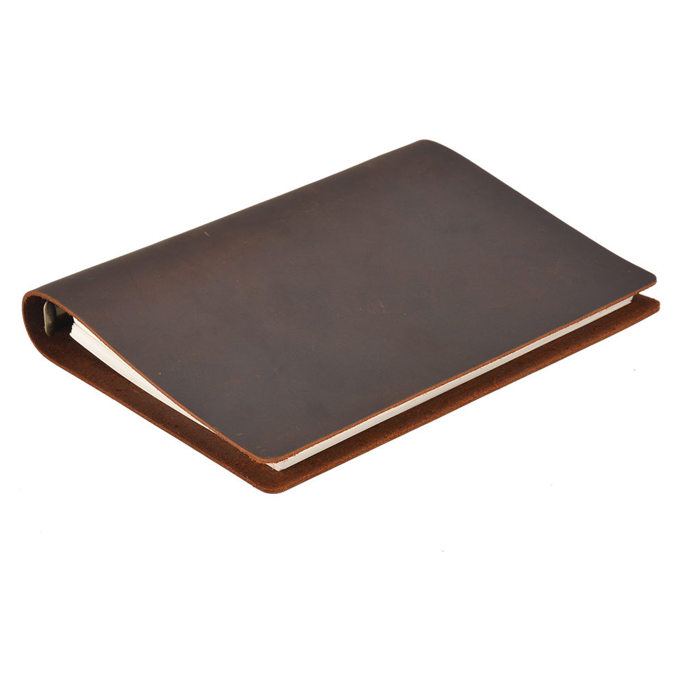 Hot Sale Classic Business Notebook A5 Genuine Leather Cover Loose Leaf Notebook Diary Travel Journal Sketchbook Planner high quality pu cover a5 notebook journal buckle loose leaf planner diary business buckle notebook business office school gift