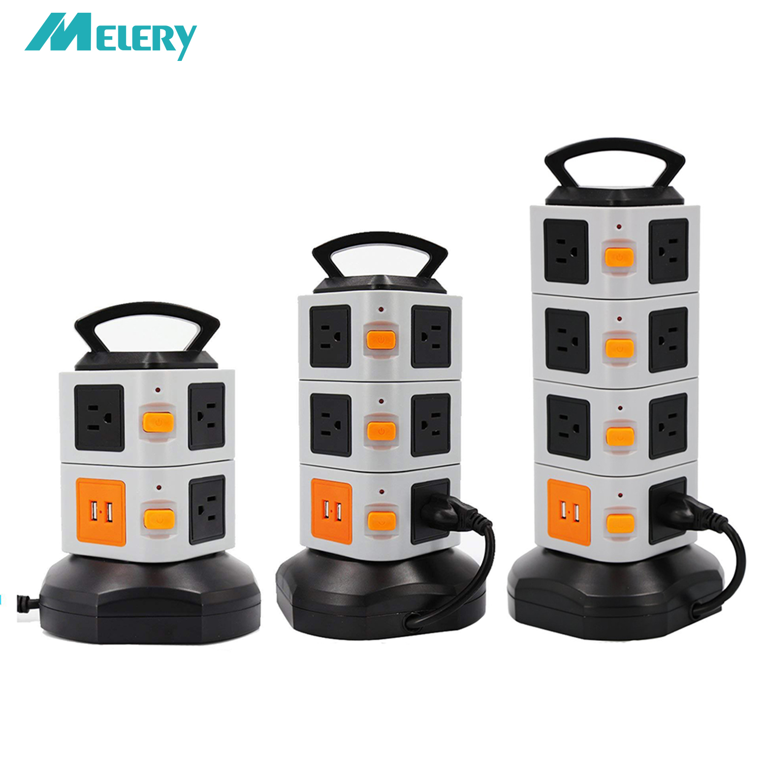 Vertical USB Socket Power Strip Extenter for Outlets Surge Protector 2500W 10A 7 11 15 Socket