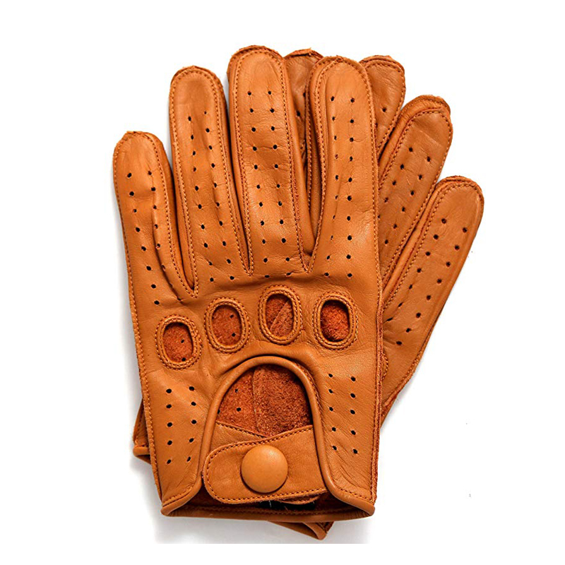 High Quality 2019 New Mens Genuine Leather Gloves For Goatskin Gloves Fashion Men Breathable Driving Gloves Male Mittens in Men 39 s Gloves from Apparel Accessories