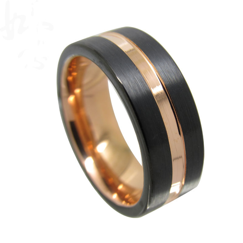 Pink And Black Tungsten Ring: Pink Gold / Rose Gold And Black Plated Flat Tungsten