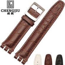 Italien Bande de Montre En Cuir Pour Swatch Montres Bracelet Poignet Bande 17 19 21 23mm Bracelet Bretelles Clafskin Hommes Femmes bracelet