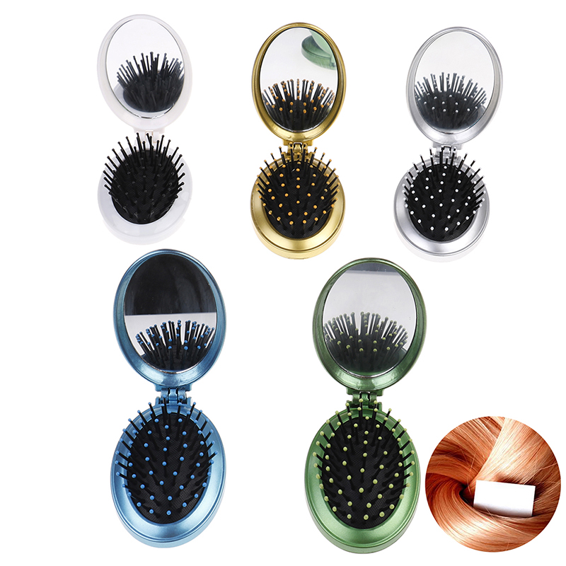 Portable Round Pocket Small Size Travel Massage Folding Comb Girl Hair Brush With Mirror Styling Tools