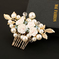 Gold Floral Wedding Tiara handmade pearl jewelry bridal hair comb exquisite ceramic flower combs hair accessories wholesale