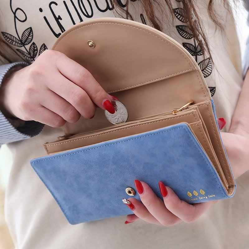 Novo estilo senhora bolsas de embreagem zíper moeda sacos bolsa cartões titular fosco mulheres de couro PU carteiras longo bolsas Burse sacos de dinheiro