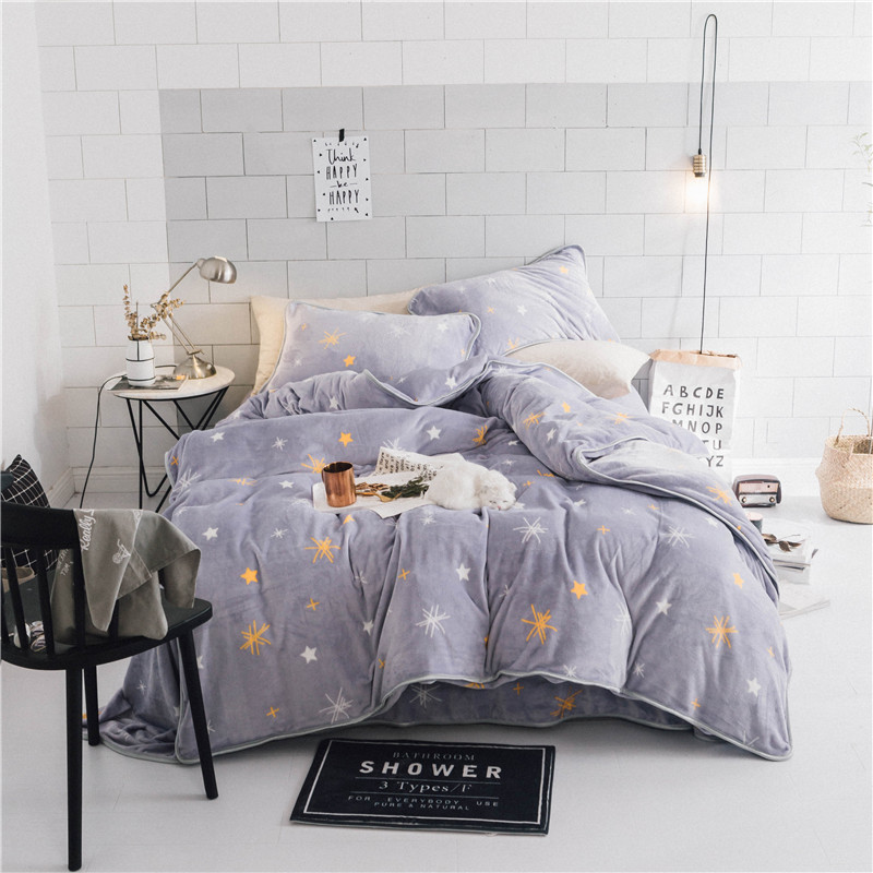 2017 IvaRose Black Starry Sky Bedding Set Fleece Fabric Duvet Cover Sets Winter Bed Linen Bedclothes Queen Size Bed Set