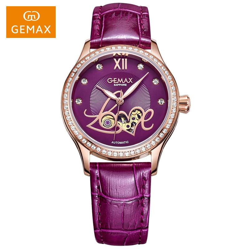 GEMAX Watch Women Luxury Automatic Watches LOVE Shape MIYOTA Mechanical Movement Purple Sapphire 50 m Waterproof Leather Clock