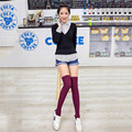 2017 Fashion Sexy Warm Long Cotton 7 Colors Stocking Over Knee Socks and Women Spring Knee High Thigh Knitted Lovely Stockings