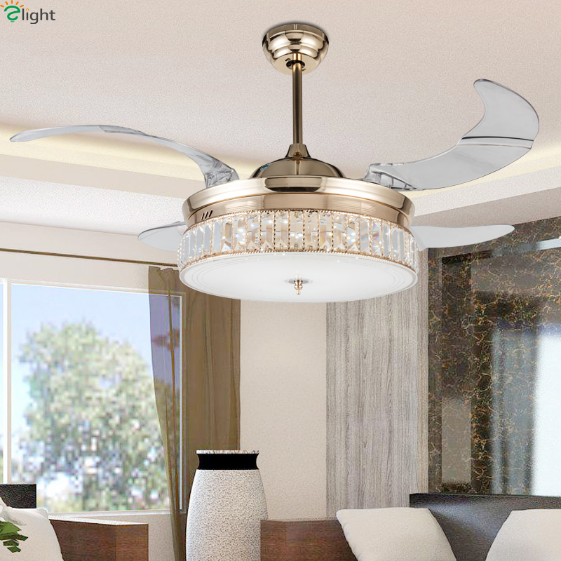 Modern Invisible Acrylic Led Ceiling Fan Lights Lustre Crystal Dining Room  Led Ceiling Fans Lamp Gold Metal Led Lighting Fixture In Ceiling Fans From  Lights ...