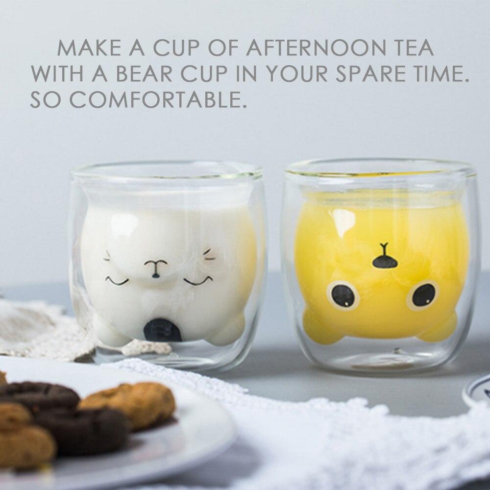 Water-Cup Tumbler Shot Glass Mini Bear Teacup Design Double-Wall Fashion Is 4pz Egg-Shape